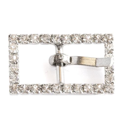 Fibbia squadrata in argento con strass