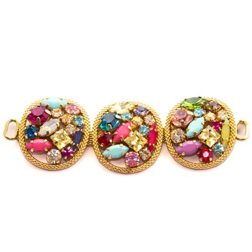 Morsetto dorato con pietre multicolor