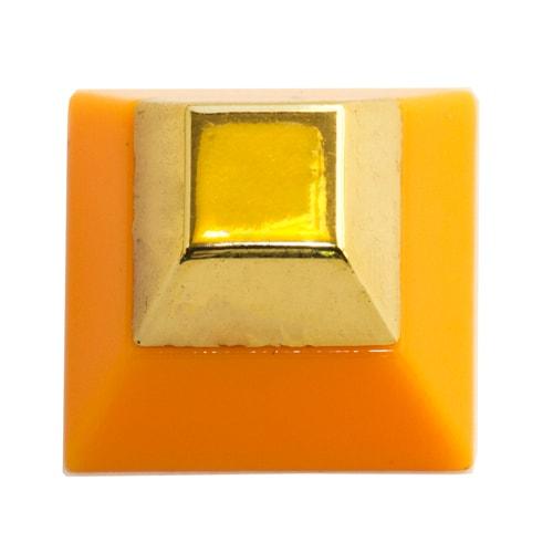 Rivetto piramidale con punta squadrata, oro e arancione