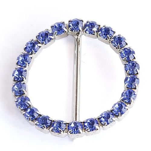 Fibbia a cerchio con strass blu