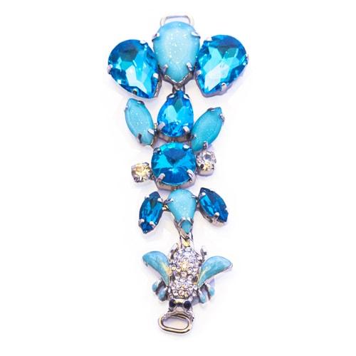 Morsetto con pietre in vetro azzurre e ape