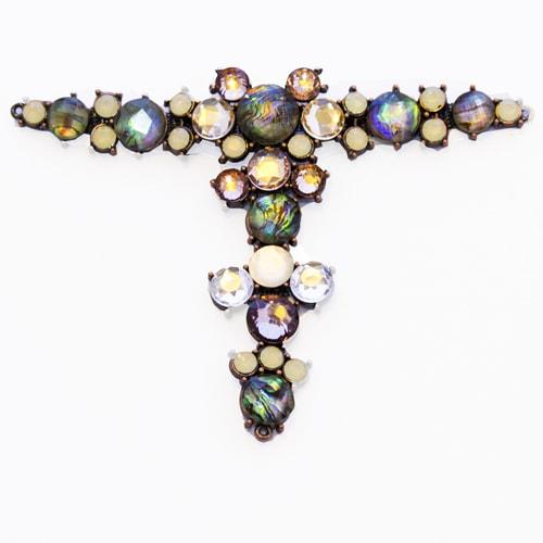 Morsetto in ottone con pietre multicolor colori naturali