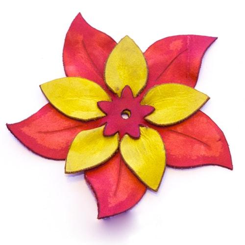 Applicazione a fiore giallo e rosso