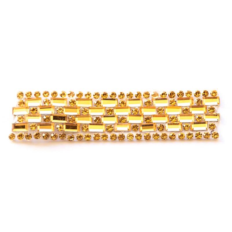 Applicazione perline dorate e strass gialli
